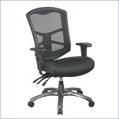 Office Star ProGrid Back Chai with Leather and Mesh Seat in Titanium