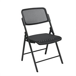 Office Star Deluxe Folding Chair With ProGrid Back in Black (Set of 2)