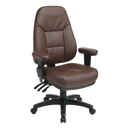 Office Star EC Series Ergonomic Burgundy Eco Leather Office Chair