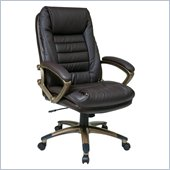 Office Star Black Eco Leather Chair with Locking Tilt Control