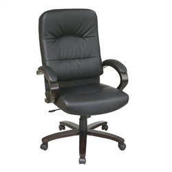 Office Star Eco Leather High Back Office Chair with Espresso Finish Wood Base