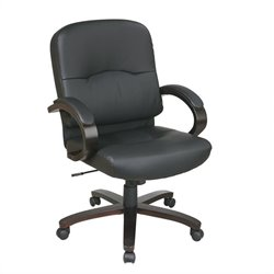 Office Star Eco Leather Mid Back Office Chair with Espresso Finish Wood Base