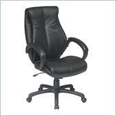 Office Star Deluxe High Back Executive Coated Black Leather Chair