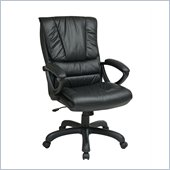 Office Star High Back Leather Chair with Pillow Top in Black