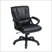 Office Star Mid Back Leather Chair in Black