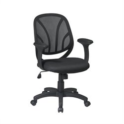 Office Star Screen Back Mesh Seat Managers Office Chair with Padded Arms