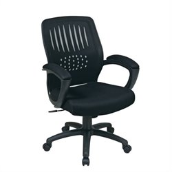 Office Star Screen Back Designer Contoured Shell Office Chair with Black Mesh