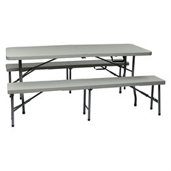 Office Star Work Smart 3 Piece Folding Table and Bench Set