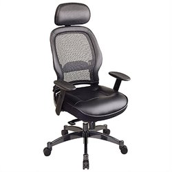Office Star SPACE Collection: Deluxe Matrex Back Executive Office Chair with Leather Seat