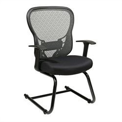 Office Star 529 Series Deluxe SpaceGrid Back Visitors Office Chair in Black