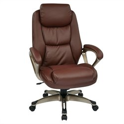 Office Star ECH Series Eco Leather Office Chair in Cocoa and Wine
