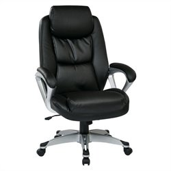 Office Star ECH Series Eco Leather Office Chair with Headrest in Black