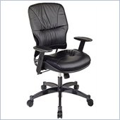Office Star SPACE Collection: Leather Managers Chair with Metal Base and Height Adjustable Arms