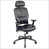 Office Star SPACE Collection: Leather Managers Chair with Metal Base, Height Adjustable Arms and 2-Way Adjustable Headrest