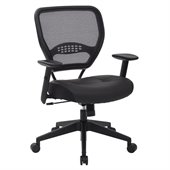 Office Star SPACE Collection: Air Grid Leather Task Chair in Black