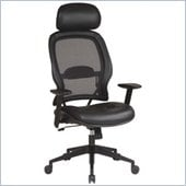 Office Star SPACE Collection: Air Grid Deluxe Task Chair with Leather Seat and Headrest