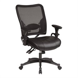 Office Star SPACE Leather Seat and Air Grid Back Managers Office Chair in Black