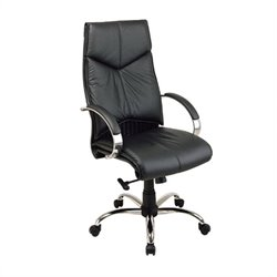 Office Star Deluxe High Back Executive Leather Office Chair with Chrome Base and Padded Chrome Arms