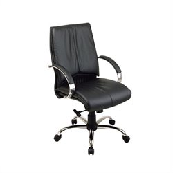 Office Star Deluxe Mid Back Executive Leather Office Chair with Chrome Base and Padded Chrome Arms