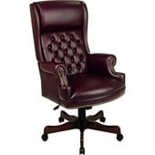 Office Star Traditional Vinyl Executive Chair in Mahogany