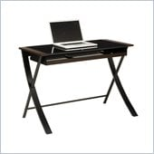 Office Star Corvus 43 Computer Desk in Black Finsh with Black Glass