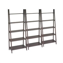 Office Star Espresso Ladder Bookcase Set in Espresso