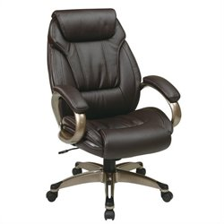 Office Star Work Smart Executive Eco Leather Office Chair with Padded Arms