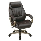 Office Star Work Smart Executive Eco Leather Chair with Padded Arms