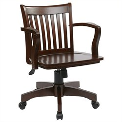 Office Star Deluxe Wood Banker's Office Chair with Wood Seat in Espresso