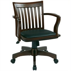 Office Star Deluxe Wood Banker's Office Chair with Vinyl Padded Seat in Espresso