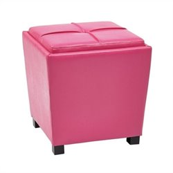 Office Star Metro 2 Piece Vinyl Ottoman Set in Pink