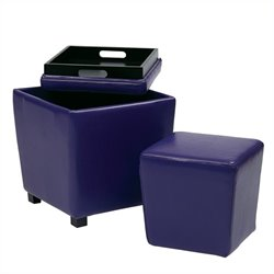 Office Star Metro 2 Piece Vinyl Ottoman Set in Purple