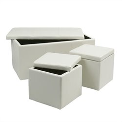 Office Star Metro 3 Piece Vinyl Ottoman Set in White