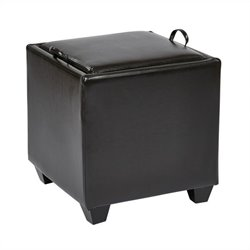 Office Star Metro Storage Ottoman with Tray in Espresso