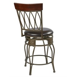 Office Star Cosmo 24 Metal Swivel Counter Stool in Espresso