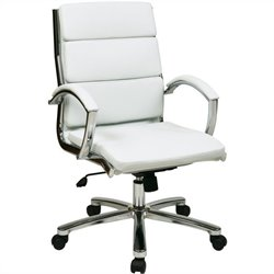 Office Star Deluxe Mid-Back Faux Leather Executive Office Chair in White