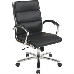 Office Star Deluxe Mid-Back Faux Leather Executive Office Chair in Black