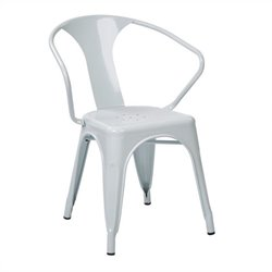 Office Star Patterson Metal Dining Chair in White (Set of 2)