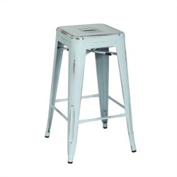 Office Star Bristow 26 Antique Metal Bar Stool in Antique Sky Blue