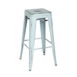Office Star Bristow 30 Antique Metal Bar Stool in Antique Sky Blue
