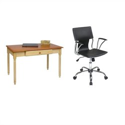Office Star Country Cottage Wood Writing Desk and Dorado Vinyl Office Chair