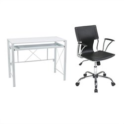 Office Star Creston Desk in White with Dorado Vinyl Office Chair