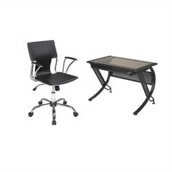 Office Star Horizon Desk with Keyboard and Dorado Vinyl Office Chair