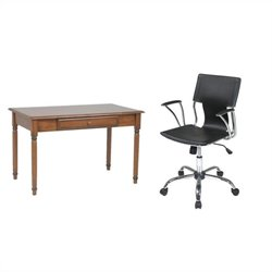 Office Star Knob Hill Wood Laptop Desk and Dorado Vinyl Office Chair