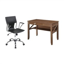 Office Star Landon Writing Desk and Dorado Vinyl Office Chair