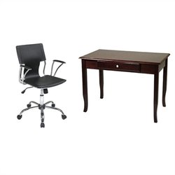 Office Star Merlot Wood Writing Desk and Dorado Vinyl Office Chair