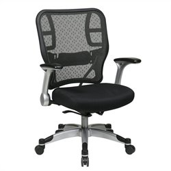 Office Star 215 Series SpaceGrid Back Office Chair with Mesh Seat in Black