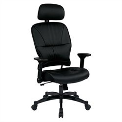 Office Star 32 Series Eco Leather Seat Office Chair with Headrest in Black