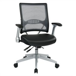 Office Star 67 Series AirGrid Back Eco Leather Office Chair in Black