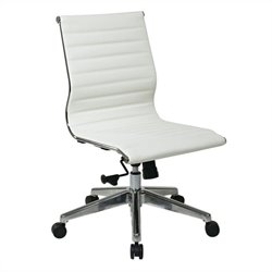 Office Star Armless Mid Back Eco Leather Office Chair in White